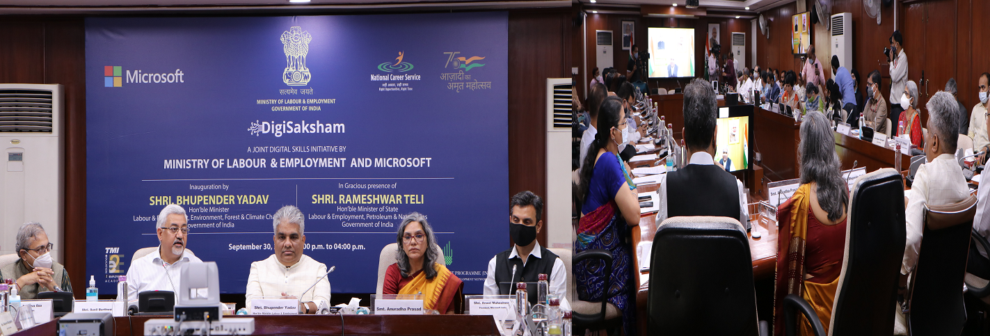 DigiSaksham- a joint initiative of Labour Ministry with Microsoft India to enhance the employability of youth on 30th September 2021.